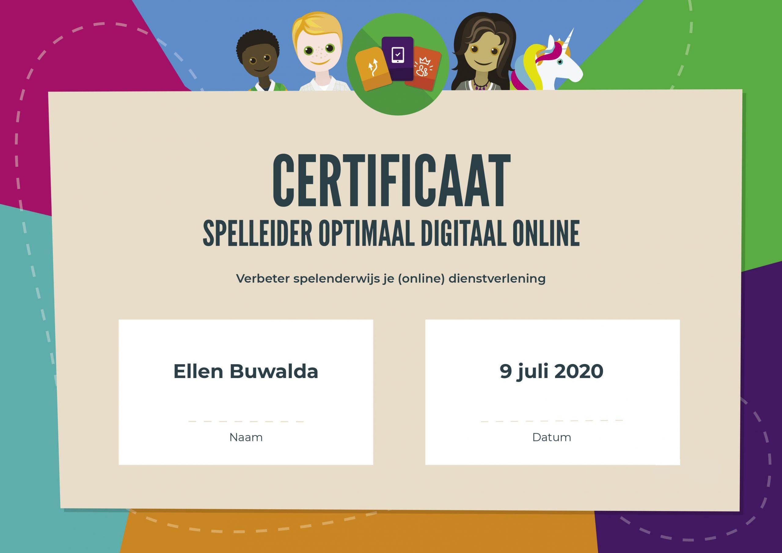 Certificaat spelleider optimaal digitaal online