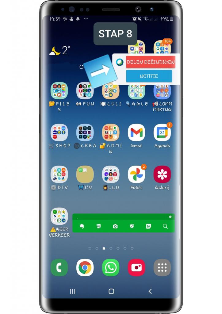STAP 8 smartphonescherm via Webex