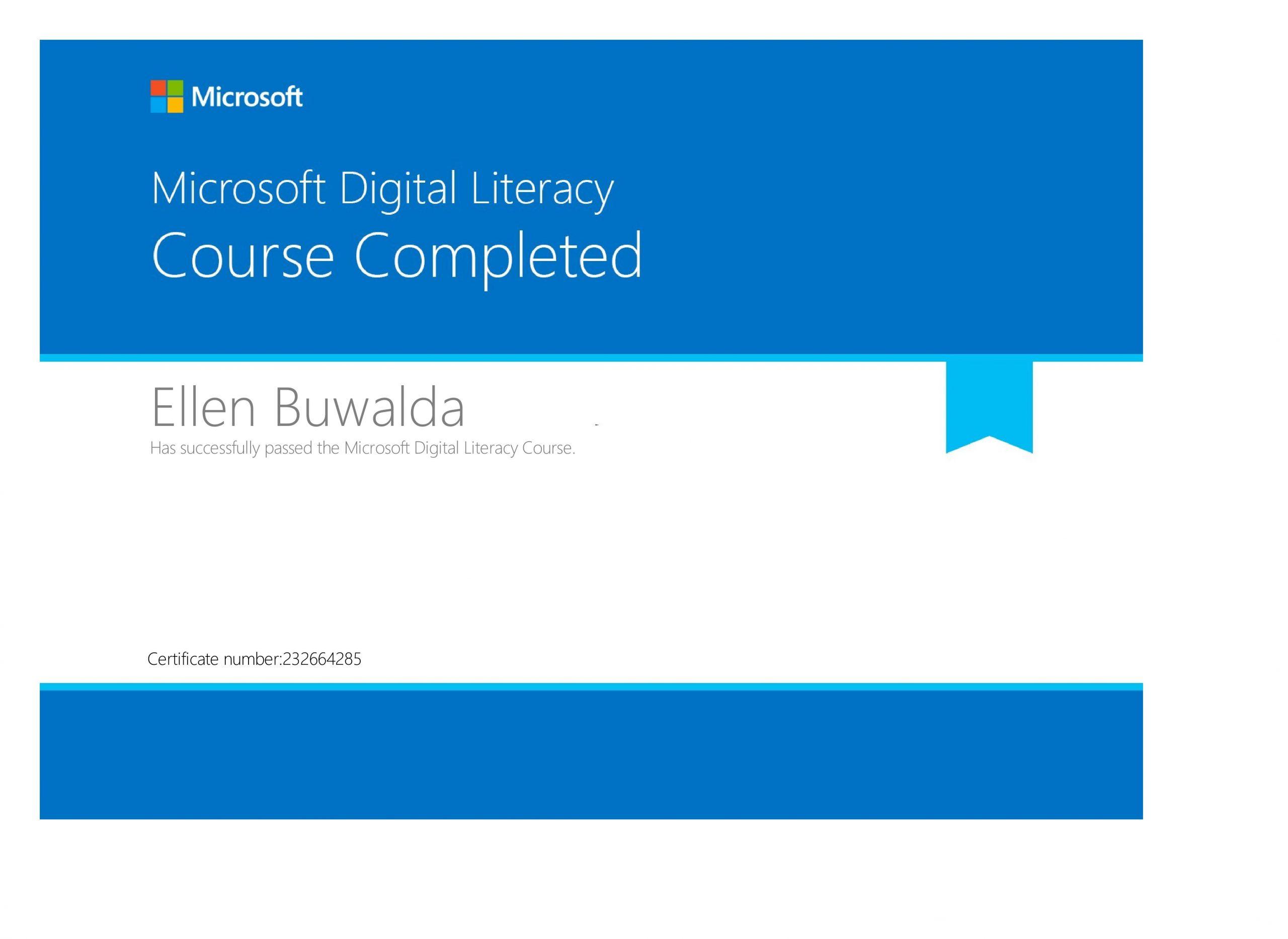Certificaat Microsoft Ditigal Literacy