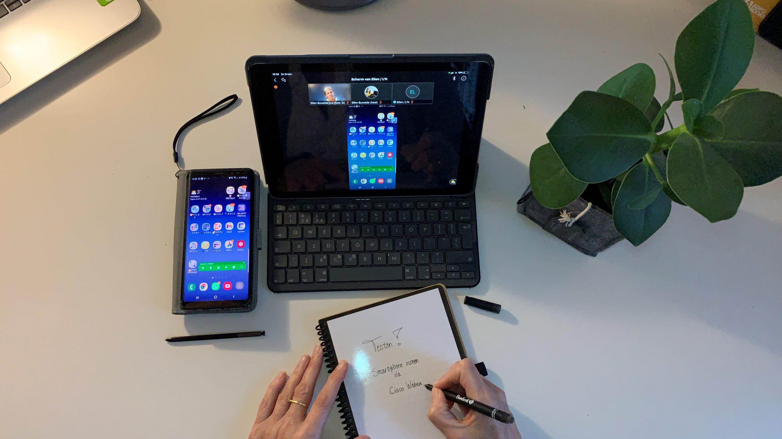 smartphonescherm delen via Cisco Webex